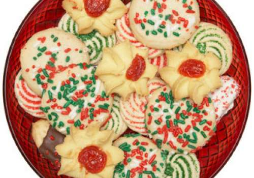 Plate of Christmas cookies.