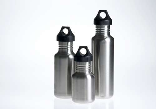 Stainless steel water bottles.