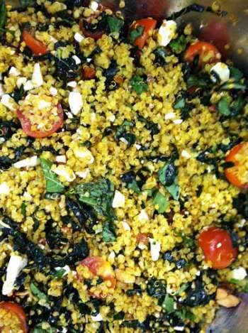 Tomato Basil Quinoa with Massaged Kale