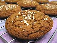 Blackstrap molasses cookies on a rack