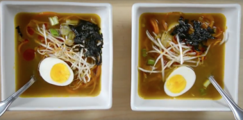 Ramen soup with boiled egg,sprouts and green onions