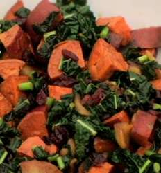 Spiced Sweet Potatoes with Apples and Kale