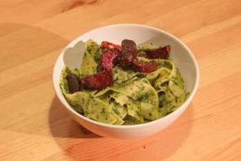 Collard and Sunflower Seed Pesto with Roasted Beets